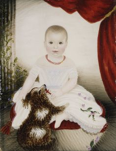 Mrs. Moses B. Russell: Baby with Rattle and Dog (1999.6) | Heilbrunn Timeline of Art History | The Metropolitan Museum of Art Watercolor and gouache on ivory; 4 1/2 x 3 1/2 in. (11.4 x 8.9 cm)