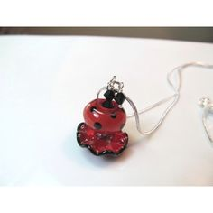 Necklace red black ruffle and polka dot glass lampwork beads, black... (£23) ❤ liked on Polyvore featuring jewelry, necklaces, keepsakedesignsbycmm, colorful necklaces, beaded jewelry, red bead necklace, chain necklace and multi color beads necklace