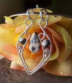 Handmade Sterling Silver & Pink Zebra Jasper Wire Pendant