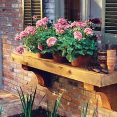 Love the look of a window box but don't want to deal with the construction, drainage holes, etc.? Build a Plant shelf. For front windows.