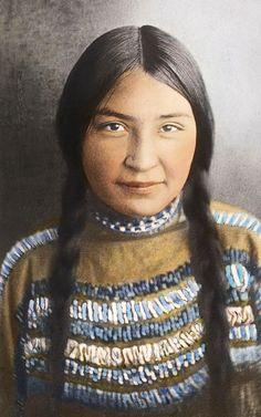Blackfeet Girl. Montana. Early 1900s. Glass Lantern Slide By Walter Mcclintock