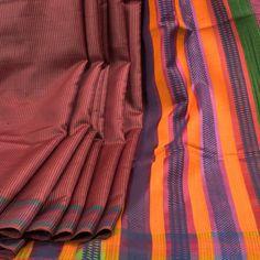 Rema Kumar Buccaneer Brown Hand Printed Dupion Tussar Silk Saree with Stripes 10001722 - AVISHYA