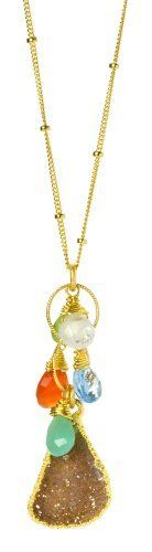 "Nina Nguyen 22K Gold Vermeil ""Harlow"" Pendant Necklace With Gold Dipped White Druzy and Semi-Precious Gemstone Accents Nina Nguyen. $149.95. Hoi-An Collection. Druzy, which are tiny quartz crystals that form within or on the surface of other stones.. 22K Gold vermeil over sterling silver necklace with semi-precious multi-color genuine gemstone dangles and gold dipped white druzy pendant.. Fine jewelry designed by Nina Nguyen. Note: Since many of our products are natural stones,..."