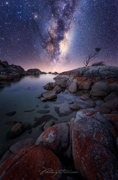 Bay Of Fires, Tasmania, Australia — by Chrystal Hutchinson. Turning the corner on the road from St Helens into Binalong Bay, the sight is simply jaw-dropping: the. 4k Photography, Milky Way Photography, Landscape Photography, Landscape Photos, Sky Full Of Stars, Tasmania, Nature Photos, Night Skies, Beautiful Landscapes