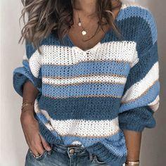 Winwinyou Women V-Neck Striped Knit Jumper Long Sleeve Pullover Sweaters Sweater Coats, Pullover Sweaters, Knit Sweaters, Vogue Knitting, Striped Knit, Long Sweaters, Cardigans For Women, Pulls, Long Sleeve Sweater