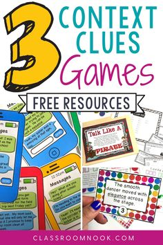 Get 3 FREE games to help students practice using context clues today! Use these fun and engaging games to increase vocabulary and develop student's skills for using context clues in the Upper Elementary classroom.  Practice this important reading skill with these fun and free activities which can be used by the whole group, small group, or independent practice. Games include talk like a pirate, tic-tac-toe, and con-text clues.  Get your 3 FREE context clue games now!