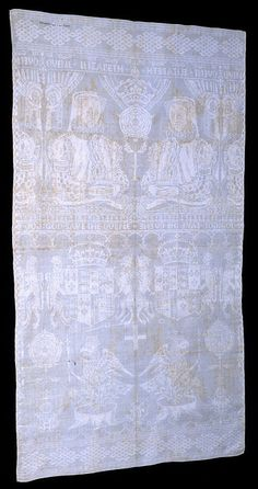 Napkin owned by Elizabeth I depicting Anne Boleyn's badge      Napkin of linen damask made for Queen Elizabeth I sometime during her reign. It depicts the arms of Elizabeth's mother, Anne Boleyn (Henry VIII's second wife). The napkin contains the words 'Quene Elizabeth' and 'God save the Quene' and a crowned Tudor rose. Victoria and Albert Museum.