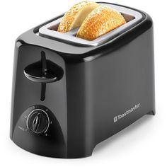 Toastmaster 2-Slice Toaster (Black) featuring polyvore, home, kitchen & dining, small appliances, kitchen, black, bread toaster, black toaster, two slice toaster and 2 slice toasters