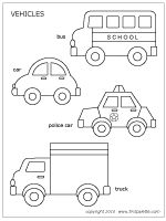 Free printable car, police car, school bus, and truck - great for quiet book inspiration Quiet Book Templates, Quiet Book Patterns, Felt Patterns, Templates Printable Free, Applique Patterns, Printables, Free Printable Coloring Pages, Cars Coloring Pages, Transportation Theme