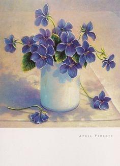 Decoupage image - beautiful violets.