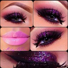 Smokey glitter eyes and hot pink lips! | ♥ Shadow Obsessed ...