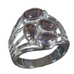 925 Solid Sterling Silver Ring Natural Amethyst Gemstone US Size 7 JSR-656 #Handmade #Ring