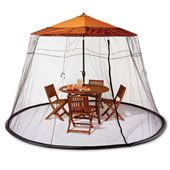 The Patio Table Mosquito Canopy - Hammacher Schlemmer. This is the enclosure that fits over a patio table's umbrella to provide a protective canopy that keeps out biting insects. Outdoor Fun, Outdoor Entertaining, Outdoor Camping, Outdoor Decor, Camping Outdoors, Outdoor Games, Shade Umbrellas, Patio Umbrellas, Patio Table Umbrella