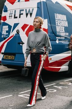 Spring transitional outfit ideas, track pants, London Fashion Week 2017  Street Style  | via Collage Vintage