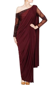 Featuring a wine color three piece saree set with off shoulder beaded blouse, silk cigarrete pants and jersey pre-stitched saree drape #Wine #Off #shoulder #Concept #Saree #BhaavyaBhatnagar #Carma #Online #Shop #CarmaOnlineShop #WorldWIdeShipping #COD #ShopNow #FreeShipping