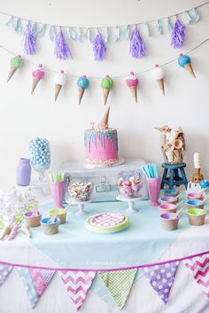 The Best Birthday Table Decorations - Ainsley - ice cream birthday party decorations.The Best Birthday Table Decorations ice cream birthday party decorations.The Best Birthday Table Decorations - Ice Cream Theme, Ice Cream Party, Ice Cream Cone Cake, Cream Cake, 3rd Birthday Parties, Birthday Party Decorations, Teenage Girls Birthday Party Ideas, 3rd Birthday Party For Girls, Birthday Banners