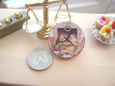 dollhouse clock vintage themed 12th scale miniature by Rainbowminiatures on Etsy