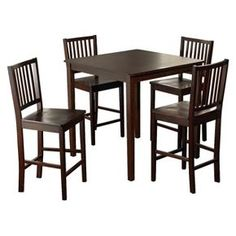 5 Piece Shaker Counter Height Set Wood/Espresso - TMS