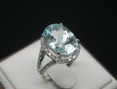 Engagement Ring -  2.5 Carat Aquamarine Ring With Diamonds In 14K White Gold AHHHHHHHH!!!!!! 3.13 carats? :)