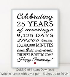 0e602404 25th ANNIVERSARY 25 Years Parents Anniversary by PrintablePrints 25th  Anniversary Gifts, 25th Wedding Anniversary Quotes