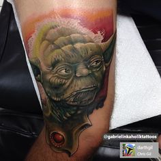 Yoda Portrait.   Source copied on to photo.    (Star Wars Tattoo. Colour Tattoo. Geeky Tattoo. Star Wars.)