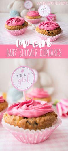 Low Carb Baby Shower Cupcakes + Free printable Cupcake Topper (Boys & Girls) www.lowcarbkoestlichkeiten.de #glutenfrei