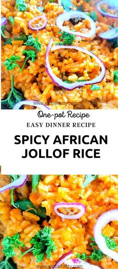 A spicy African rice recipe infused with aromatic flavours. This one-pot dish is quick and easy to make in less than an hour. A great family-friendly dinner which converts as the perfect party dish for large crowds. #easydinnerrecippes, #ghananianjollof #Nigerianjollof #spicyrice #vegetarian