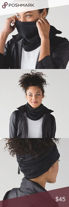 New scarf from lululemon Runderland neck warmer has lots of options to wear it!! Heathered black looks charcoal gray! lululemon athletica Accessories Scarves & Wraps