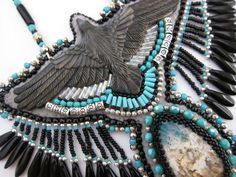 The Raven Bib Necklace by OhMyBeadingHeart on Etsy