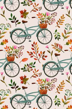 Autumn Bike Ride by mirabelleprint - Hand painted plants and bikes on a blush background on fabric, wallpaper, and gift wrap.  Fall plants and flowers in a whimsical style in a fall color palette. #bicycle #bikes #bikeillustration #fall #fallcolors #fallbikeride #illustration #handmade