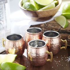 The amazing popularity of our Moscow Mule has created the desire for a mini, shot-sized version of our copper-plated stainless steel mug. Now you can introduce your guests to a Russian accent that plays the perfect host to any one- and two-ounce servings, complete with a brass handle. This set includes four Mini Moscow Mule Mugs.