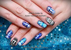 What I Used: Gelish – Live Like There's No Midnight Harmony Gelish – A-Lister Blue and Silver Nail Art Transfer Foils Moyou London White Stamping Polish Moyou London Black Stampin…