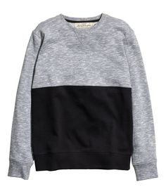Spice up a gray sweatshirt with a contrasting black section. | H&M For Men