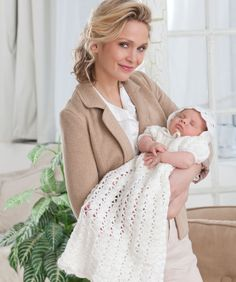 This dress and bonnet are perfect for a precious baby's christening day. Blanket is crocheted from the center out to the borders and features pretty lace patterning.