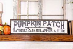 I have personally hand painted this sign. It has been sanded and painted to make it look vintage. Please keep in mind that this is done by hand and will vary on each sign. This would make a great addition to an industrial, farmhouse, cottage styled house. Fall Wood Signs, Fall Signs, Wooden Signs, Fall Decor Signs, Holiday Signs, Diy Vintage, Look Vintage, Vintage Fall Decor, Halloween Signs