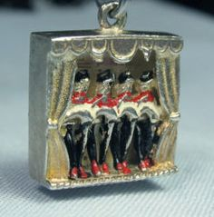 Vintage enamel French can can dancers charm ~ From the estate of Joan Munkacsi