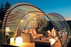 Useful ideas to decorate your house by curved pergola design.
