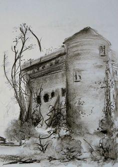 Kohle Handzeichnung original Hajewski Wasser Burg Neuhaus Papier weiß schwarz