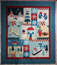 """The Blessings of Winter"" design by Shabby Fabrics.  Customer quilt, quilted by Jan Hutchison:Posted at The Secret Life of Mrs. Meatloaf"