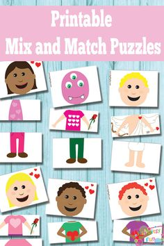 Printable Valentines Day Mix and Match Puzzles {Busy Bag} - Itsy Bitsy Fun Quiet Time Activities, Printable Activities For Kids, Valentine's Day Printables, Preschool Activities, Toddler Busy Bags, Toddler Fun, Valentine Day Crafts, Valentines, Busy Boxes