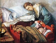 """Christian Krohg """"Sleeping Mother with Child"""""""
