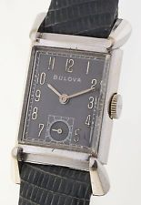 BULOVA RECTANGULAR - ART DECO DESIGN  HERRENUHR- 10 KARAT GOLDFILLED