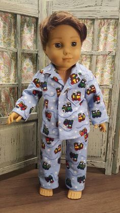 Items similar to Classic boys flannel pajamas on Etsy American Boy Doll, American Girl Clothes, Boy Doll Clothes, Girl Clothing, Ag Dolls, Girl Dolls, Doll Crafts, Sewing Crafts, 18 Inch Boy Doll
