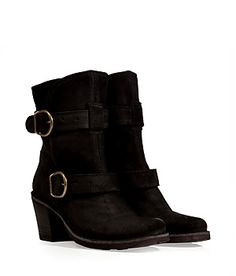 A dressed-up take on the biker boot, Fiorentini & Baker's black suede buckled iteration is both edgy and versatile | Pretty Little Liars