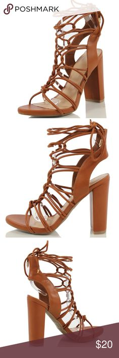 "Tan Open Toe Gladiator Cage Ankle Tie Sandal Step it up with these trendy sandals featuring open toe, cage strappy construction with lace up ankle tie gold studs, and heel approx 4 1/2"" ( size 7 measurements). Heel Height 4 1/2"". Model is a size 7 and she is modeling size 7, it fits her perfectly. Shoes Heels"
