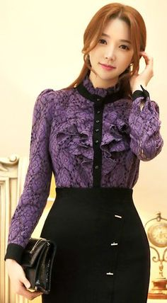 StyleOnme_Floral Brushed Lace Black Trim Ruffle Blouse #purple #wintertrend #feminine #girlish #formal #pretty #floral #lace #blouse #koreanfashion #kstyle #seoul