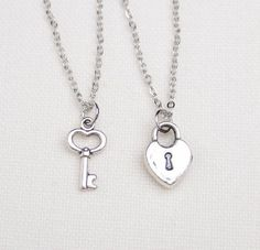 2 best friend lock and key necklaces, set of two, key to my heart necklace...pinned by ♥ wootandhammy.com, thoughtful jewelry.