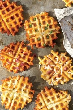 Waffled Grits - Anytime Grits Recipes - Southern Living - Recipe: Waffled Bacon & Cheddar Grits Recipe: Waffled Jalapeño & Monterey Jack Cheese Grits Recipe: Waffled Gruyère & Ham Grits Reserve a handful of the stir-in ingredients for a colorful garnish. Grits Breakfast, Breakfast Recipes, Breakfast Dishes, Camping Breakfast, Mexican Breakfast, Pancake Recipes, Breakfast Sandwiches, Breakfast Pizza, Quiche Recipes