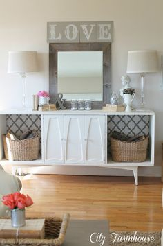 """too retro of a buffet, but love the concept.  Maybe under our tv?  love the barnwood mirror and """"love"""""""