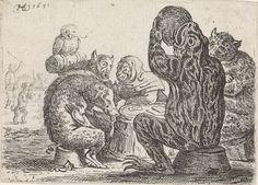 Herman Saftleven   Gezelschap van dieren rond een ton, Herman Saftleven, 1634   Een pad, een zwijn een panter, een uil en andere dieren zitten rond een ton te eten en te roken. Op de achtergrond een man en een dansende hond.